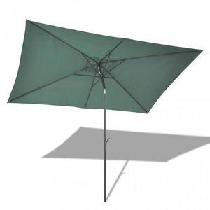 WHITE LABEL - parasol rectangulaire manivelle et bascule - Ausziehbarer Sonnenschirm