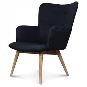 Demeure et Jardin - fauteuil design style scandinave pieds bois tissu  - Sessel