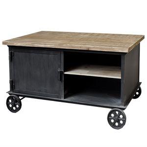 CHEMIN DE CAMPAGNE - table basse table de salon fer metal bois à roulet - Rechteckiger Couchtisch