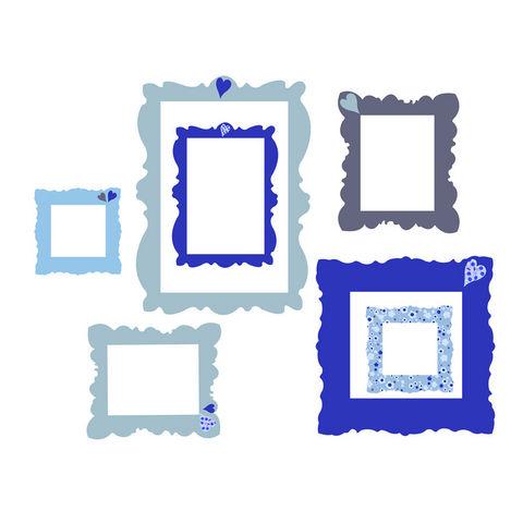 LILI POUCE - Kinderklebdekor-LILI POUCE-Cadres adhésifs bleus lot de 7 stickers cadres