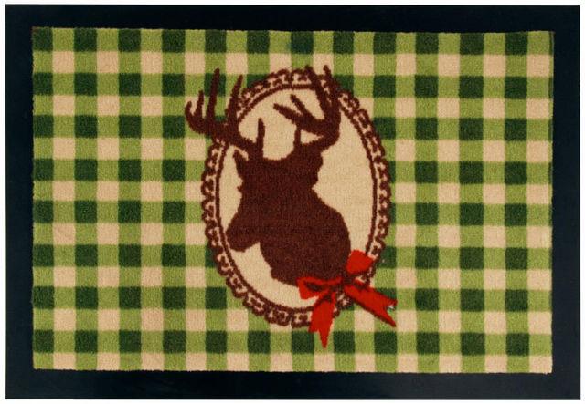 BEST FOR BOOTS - Fussmatte-BEST FOR BOOTS-Tapis cerf à carreaux verts en caoutchouc 60x40cm