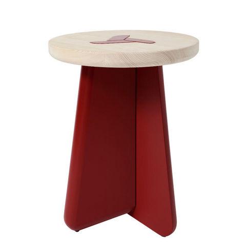 MARCEL BY - Hocker-MARCEL BY-Tabouret koo e en pin naturel et rouge brun 40x52c