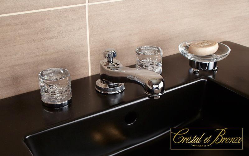 Cristal Et Bronze Mezclador lavabo 3 orificios Grifería Baño Sanitarios  |