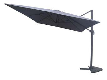 WHITE LABEL - parasol rotatif gris 3*4 m - bronze - l 300 x l 40 - Sombrilla Con Soporte Lateral