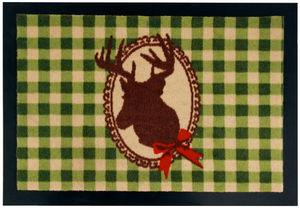 BEST FOR BOOTS - tapis cerf à carreaux verts en caoutchouc 60x40cm - Felpudo