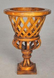 Demeure et Jardin - vase tressé en bois verni - Jarro Decorativo