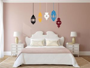 WHITE LABEL - sticker 5 lampes mauresques multi couleurs - Adhesivo