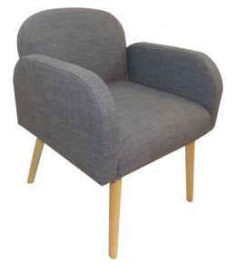 Cotton Wood - fauteuil en toile effet lin oslo gris - Sillón