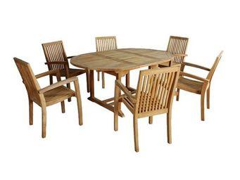 BOIS DESSUS BOIS DESSOUS - salon de jardin en bois de teck midland 6/8 places - Comedor De Exterior