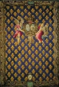 Motifs Licorne - portière fleur de lys - Tapiz Antiguo