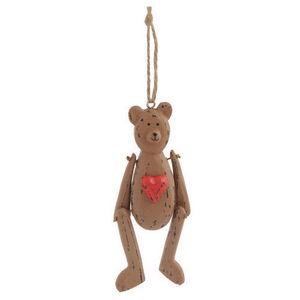 Maisons du monde - ours tradition coeur grand modèle - Decoración De Árbol De Navidad