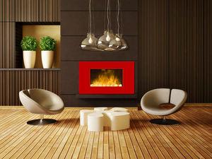 CHEMIN'ARTE - cheminée design red line en acier et verre trempé - Chimenea Eléctrica