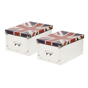 WHITE LABEL - 2 boîtes pliables tendances motif union jack - Caja