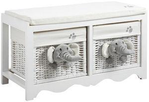 Aubry-Gaspard - banc de rangement �l�phants 2 tiroirs en bois et o - Ba�l Para Juguetes