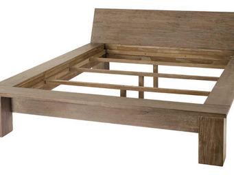 jardindeco - lit deux places en teck gris� 140x190cm - Cama De Matrimonio