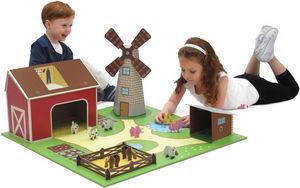 EXKLUSIVES FUR KIDS - ferme avec figurines et accessoires en carton recy - Casa De Juego