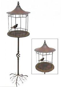 Demeure et Jardin - mangeoire a oiseaux vert de gris - Comedero De Pájaros