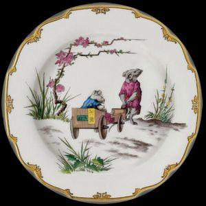 Au Bain Marie - assiette décorative en tôle souris cariole - Plato Decorativo