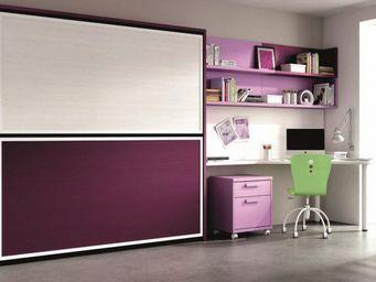 WHITE LABEL - armoire lit superpos�e avec bureau et �tag�res 2 c - Armario Cama