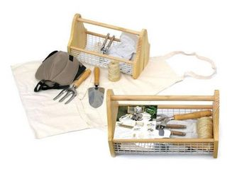 Clementine Creations - panier bois + kit jardinage - Kit De Jardinería