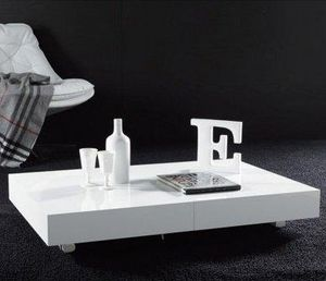 WHITE LABEL - table basse relevable extensible block design blan - Mesa De Centro De Altura Regulable