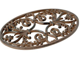 Antic Line Creations - dessous de plat ovale feuille d'olivier rouille - Salvamantel