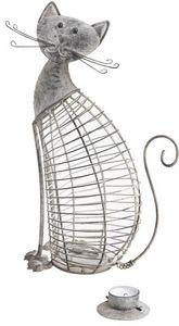 Aubry-Gaspard - photophore métal chat - Portavelas Para Exterior