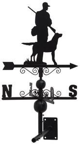 Aubry-Gaspard - girouette en fer forgé chasseur et son chien avec  - Veleta