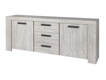 WHITE LABEL - buffet 2 portes 3 tiroirs gris cendré 230 cm - jac - Aparador Bajo