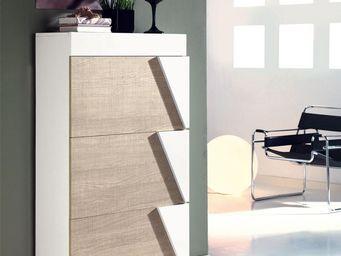 WHITE LABEL - meuble à chaussures blanc/chêne clair - luzia - l - Mueble Zapatero