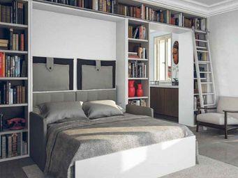 WHITE LABEL - armoire lit à ouverture assistée traccia 140 blanc - Armario Cama