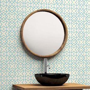 BOIS DESSUS BOIS DESSOUS - miroir rond en bois de teck - Espejo De Cuarto De Baño