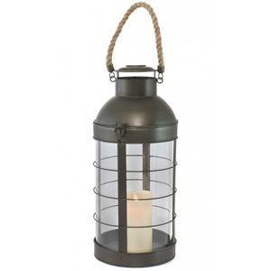 CHEMIN DE CAMPAGNE - lanterne à bougie tempête fer verre et corde 46 cm - Linterna