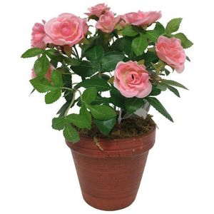 CHEMIN DE CAMPAGNE - grand rosier artificiel rose 23 cm - Flor Artificial