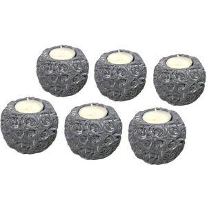 CHEMIN DE CAMPAGNE - 6 bougeoirs chandeliers photophores en ciment - Candil