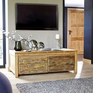BOIS DESSUS BOIS DESSOUS - meuble tv en bois de teck recyclé 120 cargo - Mueble Tv Hi Fi