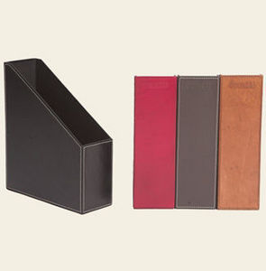 Mufti - havana leather sloping file box - Caja Archivador