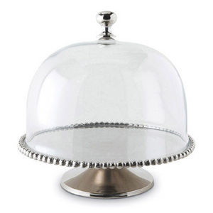 Culinary Concepts - large beaded edge cake stand with domed lid - Campana De Fuente