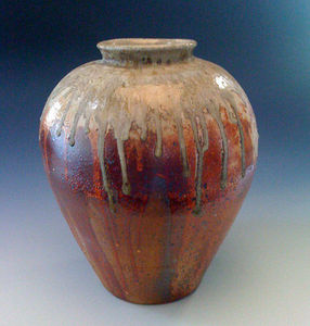 Maze Hill Pottery - red shino jar - Tinaja