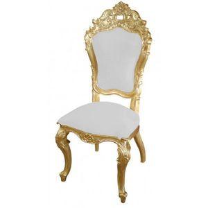 DECO PRIVE - chaise mariage baroque doree et blanche modele car - Silla