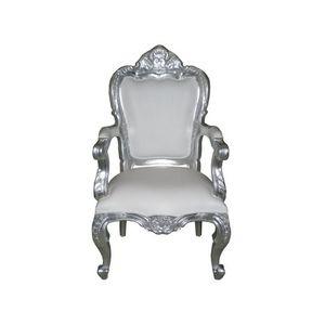 DECO PRIVE - fauteuil baroque argent et blanc modèle carved - Sillón