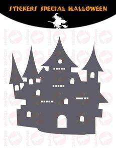 WHITE LABEL - sticker château hanté d'halloween - Adhesivo