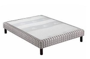 WHITE LABEL - sommier tapissier double epeda piqué gris clair co - Canapé Con Muelles
