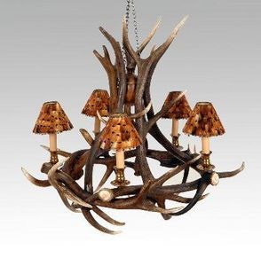 Clock House Furniture - chandelier - red deer 5 arms - Araña