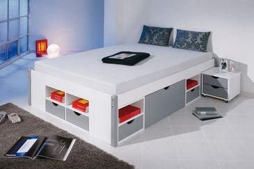 viggo lit 140x200 cama de matrimonio con cajones blanco. Black Bedroom Furniture Sets. Home Design Ideas