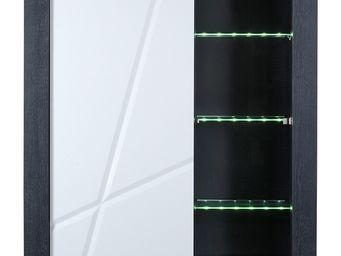WHITE LABEL - vaisselier - stripe - l 130 x l 45 x h 170 - bois - Credenza Con Piattaia