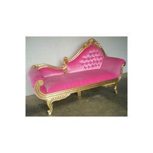 DECO PRIVE - meridienne baroque dore et velours rose - Chaise Longue
