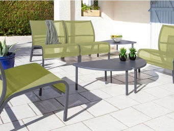 PROLOISIRS - salon linéa lounge 4 fauteuils 3 tables royal grey - Salotto Da Giardino