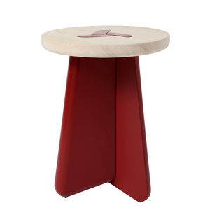 MARCEL BY - tabouret koo e en pin naturel et rouge brun 40x52c - Sgabello