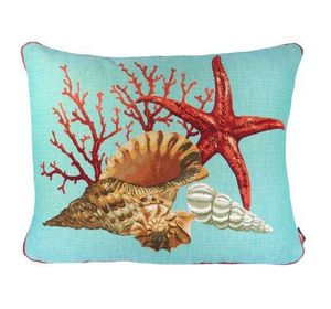 Art De Lys - corail et étoile de mer, fond bleu - Cuscino Rettangolare